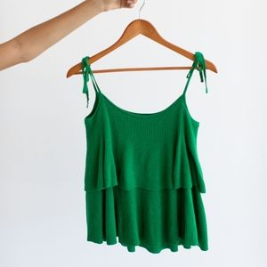 J. Crew Green Tiered Merino Wool Knit Tank Top NWT